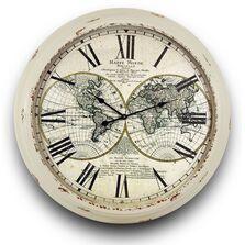 Ceas de perete metalic, model harta, crem, D93 cm