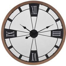 Ceas de perete metalic, cadru lemn, 70 cm