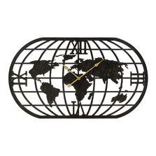 Ceas metalic de perete, harta Terra, negru, 100x4.5x58 cm