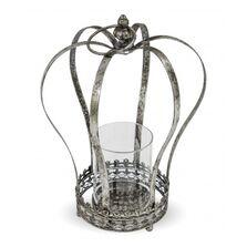 Suport metalic de lumanare, forma coroana, gri, 38x23 cm