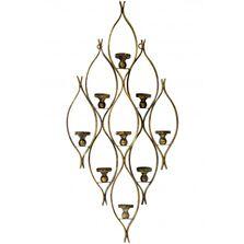 Suport de perete, 9 lumanari, metalic, auriu, 92x43 cm
