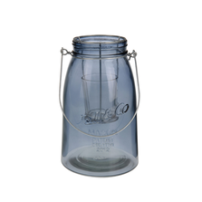 Felinar din sticla cu suport metalic pentru lumanare, nuanta albastru inchis