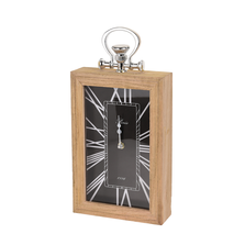 Ceas de masa, cadru lemn si agatatoare metalica, fond negru