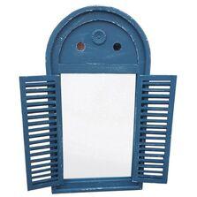 Oglinda cadru lemn antichizat, cu obloane, albastra