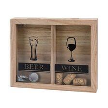 Dispenser din lemn pentru capace bere si dopuri sticle de vin