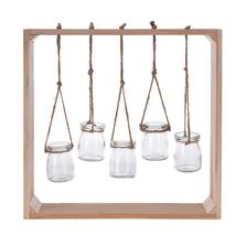 Cadru din lemn cu 5 vase de sticla agatate, 38x38x7 cm