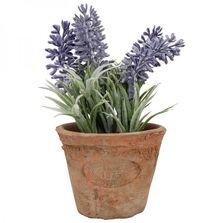 Ghiveci teracota, cu floare artificiala, lavanda