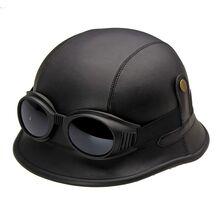 Casca Moto WW2, imbracata in piele, cu ochelari