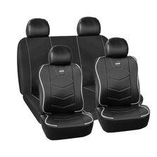 Huse scaune auto Momo, piele ecologica+ material textil, negru cu ornamente gri, 11 Bucati