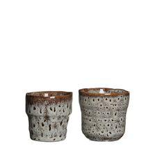 Ghiveci  de ceramica, maro/alb, 7,5x7,5 cm