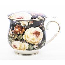 Cana de portelan cu infuzor, model floral, 480 ml