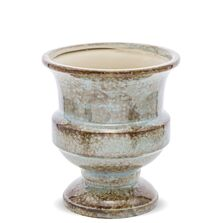 Ghiveci ceramic, albastru/maro, 17x15x15 cm