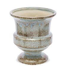 Ghiveci ceramic, albastru/maro, 20x18x18 cm