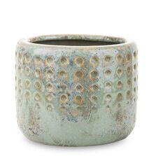 Ghiveci ceramic, verde antichizat, 12,5x15 cm