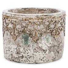 Ghiveci de piatra, crem, model antichizat, 11x15,5 cm