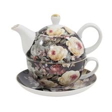 Set ceainic, cana si farfurie portelan, model floral negru, 450 ml
