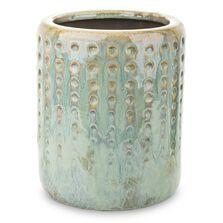 Ghiveci ceramic, verde antichizat, 13x15,5 cm