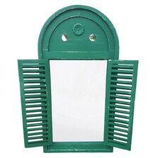 Oglinda cadru lemn antichizat, cu obloane, verde