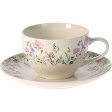 Set cana si farfurie pentru cafea, model floral, 250 ml