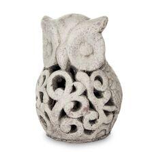 Decoratiune ceramica bufnita, gri antichizat, 19x13x13 cm