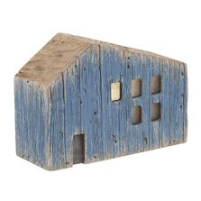 Decoratiune casa, lemn, led, albastru, 18x7x13 cm