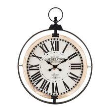 Ceas de perete, cadru metalic/lemn, 91x70x7 cm