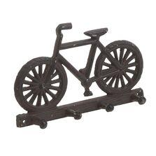 Cuier metalic forma bicicleta, maro antichizat, 20x4x13 cm
