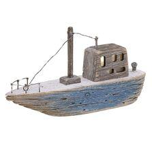 Decoratiune barca, lemn, led, 25x6x13 cm
