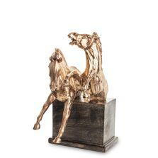 Decoratiune de masa cai, bronz/negru, 31x16,5x22 cm