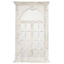Oglinda de perete decorativa, crem antichizat, 132x83x7,5 cm