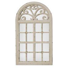 Oglinda de perete decorativa, crem antichizat, 123x70x3 cm