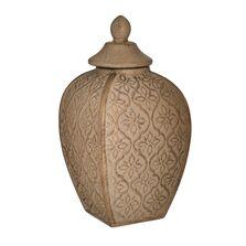 Vaza ceramica cu capac, bej/auriu, 16x16x30 cm