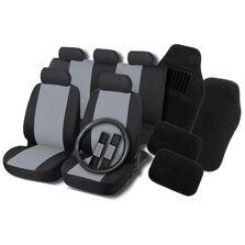 Set huse scaune, volan si covorase auto RoGroup, negru-gri,  16 buc
