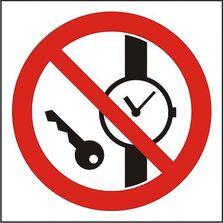 Indicator Autocolant Interzis accesul cu obiecte metalice (versiune 2), dimensiune 180 x 180mm