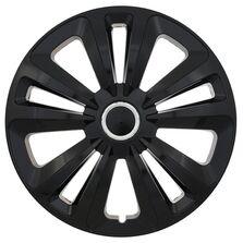 Set 4 capace roti model Terra Black, 16 inch, cu inel cromat
