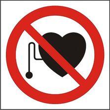 Indicator Autocolant Interzis accesul persoanelor cu electrostimulatoare (versiune 2), dimensiune 180 x 180mm