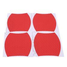 Set 4 bucati protectie zgarieturi manere usa din autocolant carbon 3D Rosu